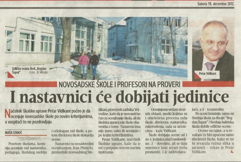 isečak iz novina o školi